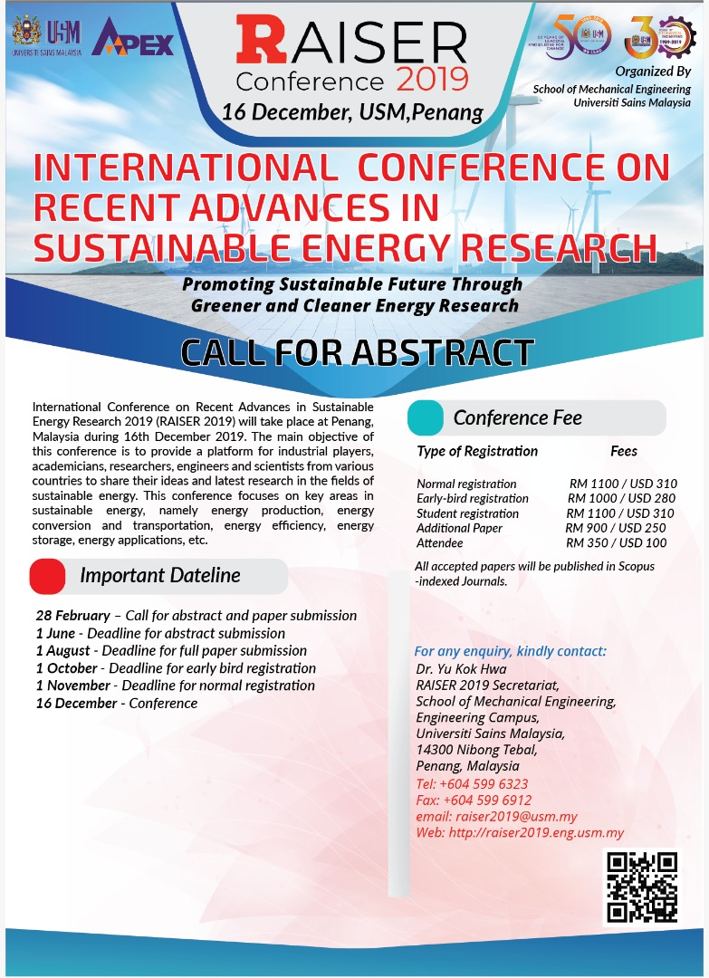 Recent Advances in Sustainable Energy Research (RAISER 2019)